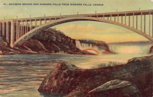 Rainbow Bridge & Niagara Falls, Canada, Early Postcard, Used in 1952
