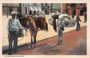 Hat Vendors in San Juan, Puerto Rico, 1909 Postcard, unused