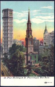 St Paul Bldg & Chapel New York NY unused c1910's