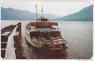 Ferry, M.V. Anscomb docking at Kootenay Bay,  B.C.,  Canada,  40-60s