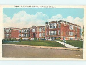 Unused W-Border NATHANIEL GREEN SCHOOL Pawtucket Rhode Island RI p0227