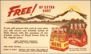 Nehi & Royal Crown Cola Soft Drink Beverage Adv Postcard