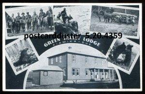 4359 - KIAMIKA Quebec Postcard 1938 Green Valley Lodge Fishing Canoeing