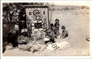Real Photo Carding Wool Navajo Indian Rug Weaving AZ Arizona Frashers RP D244