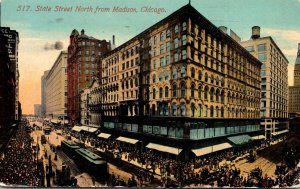 Illinois Chicago Trolleys On State Street North From Madison 1912