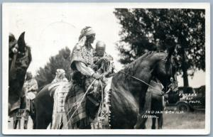 INDIAN & CHILD on HORSE IDAHO ANTIQUE REAL PHOTO POSTCARD RPPC