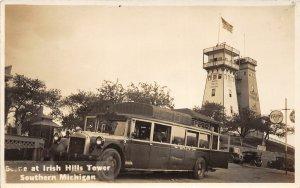 H19/ Irish Hills Tower Michigan RPPC Postcard c1930s The Oriole Bus 86