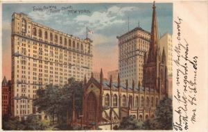 12354  New York City 1904   Trinity Building, Trinity Church  Glitter