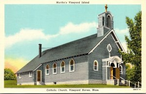 Massachusetts Martha's Vineyard Vineyard Haven Catholic Church Curteich