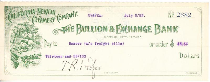 California-Nevada Creamery Co. Check 1893 Carson City