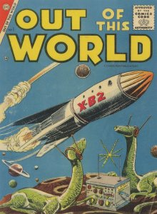 Out Of This World 1950s Comic Book Dinosaur Planet Postcard