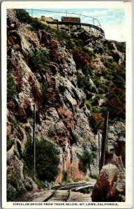 Vintage 1920s Mount Lowe Railway CA Postcard Circular Bridge from Track Below