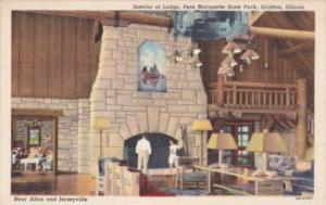 Illinois Grafton Interior Of Lodge Pere Marqquette State Park Curteich