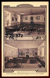 872 - LAC ST. JEAN Quebec Postcard 1910s Ursulines de Roberval School Interior