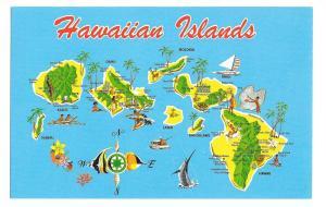 Hawaiian Islands Map Hawaii Kauai Maui Vintage Postcard