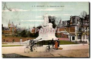Old Postcard Roubaix Monument to Velo Cycle Dead
