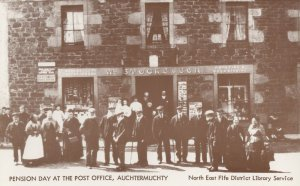Pension Day at Auchtermuchty Scottish Post Office Postcard