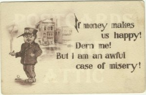 If Money Buys You Happiness Comical Vintage Postcard Messenger Boy or Doorman