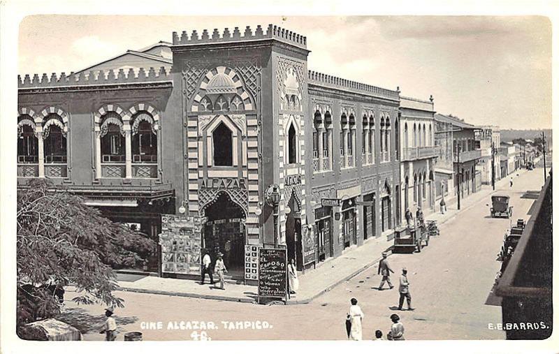 Cine Alcazar Tampico Movie Theatre Street View Signed E. E. Barrds RPPC Postcard