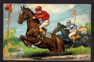 Steeple Chase Jump Horse Race Vintage Thiele Postcard UDB Undivided Back Horses