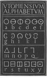 V&A collection postcard of More's Utopian Alphabet referencing Eric Gill