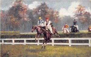 Steeplechase Horse Racing Last Mile 1909 Tuck postcard