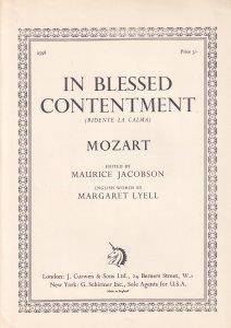 Mozart In Blessed Contentment Ridente La Calma Classical Rare Sheet Music Book