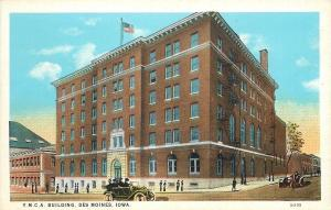 Des Moines Iowa~YMCA Building~Young Men's Christian Association~1920s Cars