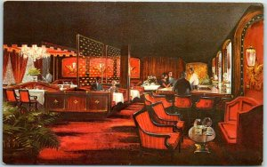 Beverly Hills, CA Postcard CHEZ VOLTAIRE French Restaurant, Bar View c1950s