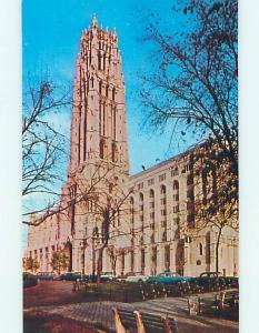 Unused 1950's OLD CARS & CHURCH SCENE Manhattan New York NY p3854