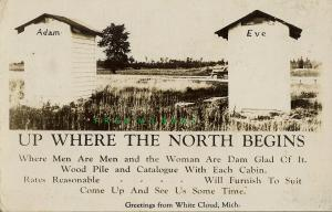 Circa-1950 White Cloud Michigan Real Photo Postcard: Outhouse Humor