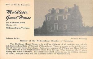 Williamsburg Virginia outside view Middlesex Guest House antique pc ZA440240