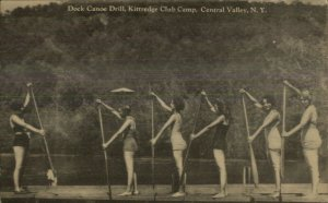 Central Valley NY Dock Canoe Drill Kittredge Club Camp Old Postcard