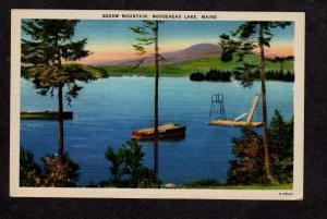 ME View Squaw Mt Mountain Moosehead Lake Maine Linen Postcard Carte Postale PC