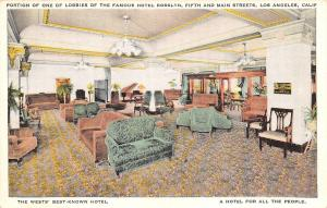 Los Angeles CA Interior~Plush Furniture~Grand Piano~Hotel Rosslyn 1920s