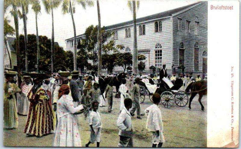 SURINAME South America Postcard Bruiloftstoet Wedding Procession Street Scene