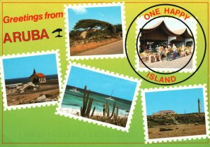 Vintage Postcard Greetings from Aruba One Happy Island Many Happy Faces
