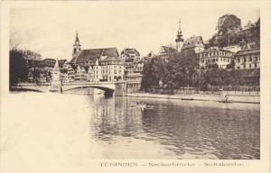 TUBINGEN, Baden-Wurttemberg, Germany, 1900-1910's; Neckarbrucke, Stiftskirche