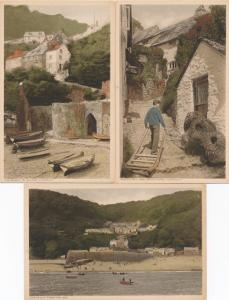 (3 cards) Entrance, Back Stairs, Sea View - Clovelly, Devon, England - DB