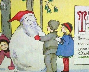 Vintage Christmas Postcard Santa Snowman Stetcher 749 Antique 1924 Health Stamp
