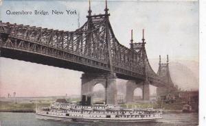 NYC, New York, 00-10s; Queensboro Bridge, Ship Richard Peck underneath