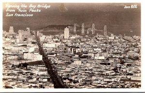 California San Francisco Viewing The Bay Bridge From Twin Peaks Real Photo