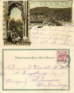 ottoman turkey, SMYRNE SMYRNA, Panorama, Pipe Smoking Man (1898) Litho Postcard