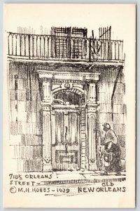 New Orleans Louisiana~718 1/2 Orleans Street~1939 Artist MH Hobbs~Sepia Litho PC