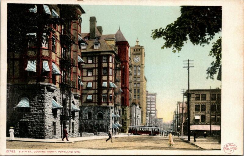 Portland OR~Stone Foundations~Clocktower~Trolley~Detroit Publishing #10782~c1910