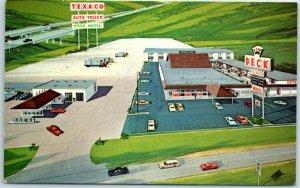 Geneseo, Illinois Postcard DECK PLAZA Artist's View Interstate 80 Roadside 1960s
