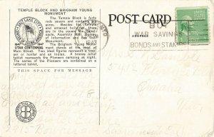 Postcard 1943 Temple Block, Salt Lake City, Utah ME8.