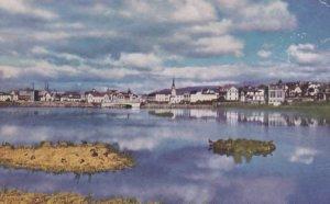 Reykjavik Island Reflections On Water Old WW2 War Iceland Postcard