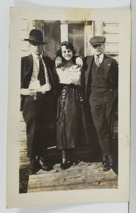 Rppc c1920 Trio Woman & Two Gents One in the Style Peaky Blinders Postcard Q13