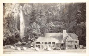Columbia River Highway Oregon~Multnomah Lodge & Falls~1930-40-50s Cars~RPPC